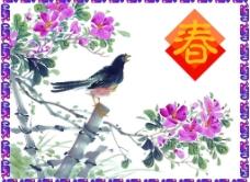 小鸟百花迎春图片