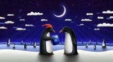 夜空下的企鹅图片