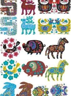 矢量动物剪纸图片