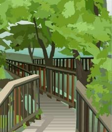 栈道 森林图片