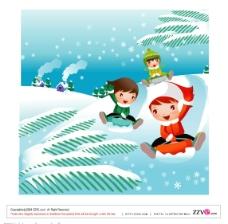雪景小孩图片