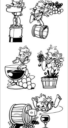 葡萄酒卡通人物图片