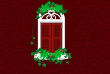 红色 墙 欧式 窗户 草图片