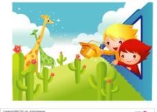 韩国幼儿园卡通风格矢量图片