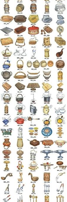 筐篮盆盘刀叉 勺子等厨房用品ai矢量素材图片