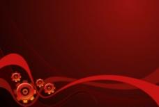 红色动感线条背景与齿轮图片