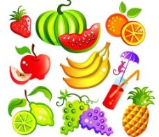 各种卡通风格水果矢量素材图片