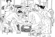 稀有素材-市井人物线描图片