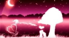 情人节壁纸系列-河边恋人图片