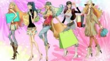 购物卡通美女图片