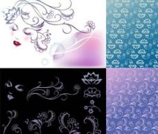 韩国矢量花纹背景图片